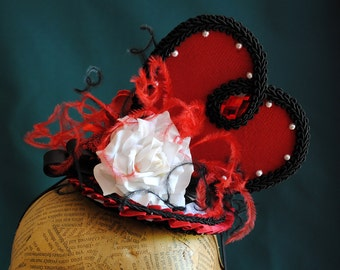 Queen of Hearts Cosplay Headpiece,Alice in Wonderland Costume Fascinator,Gothic Heart Red and Black Mini Hat-Custom-Made to Order