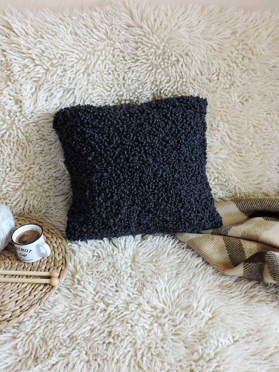 Hand Knitted Throw Pillow Case Knit Chunky Pillow Cover Black