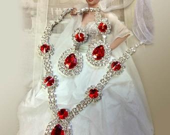 Wedding jewelry set ,bridesmaid jewelry set, Bridal necklace earrings, vintage inspired rhinestone jewlery, Red crystal jewelry set