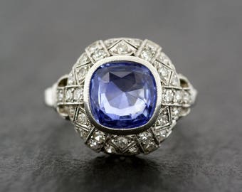 Art Deco Engagement Ring - Antique Sapphire and Diamond Art Deco Engagement Ring - Antique Engagement Ring