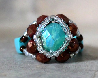Czech Fire Polished Woven Ring in Turquoise and Brown