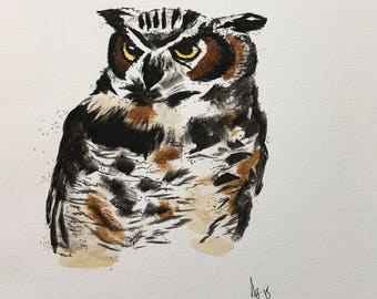 Watercolor Great Horned Owl Print, Owl Painting, Owl watercolor
