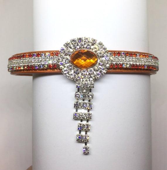 Cutie Pie Pet Collars TM ~Orange Diamond Evening Necklace~ Crystal Diamante Rhinestone Pet Dog Cat Collar USA