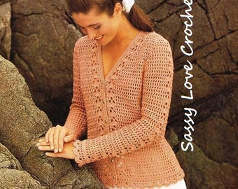 Crochet U.K. Cardigan Sweater Pattern, Ladies Womens Crochet Summer Spring Long Sleeve Filet Top- PDF Download -U.K.Version