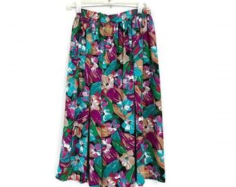 Vintage colorful Floral Midi Skirt 1980s boho hippie bold bright flower botanical skirt Tropical print Womens medium