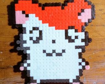 Hamtaro Hamster Perler Bead Pixel Ham Ham Heartbreak Ornament or Magnet