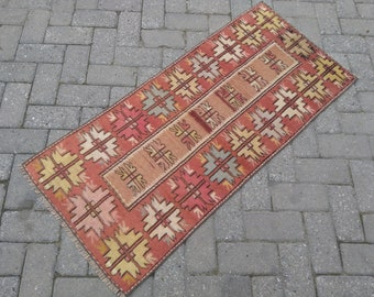 vintage hand knotted turkish rug. anatolian colorfull oushak rug. small rug runner. small rug. runner rug. natural colorfull wool rug.