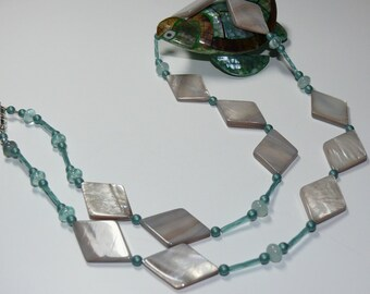Diamond Shaped Irridescent Shells with Dusty Green Beaded Handmand Necklace