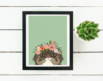 Maine Coon Cat with Floral Crown Art Print