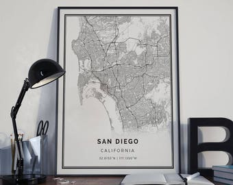 San Diego map poster print wall art | California gift printable download | Modern map decor for office, home and nursery | MP8