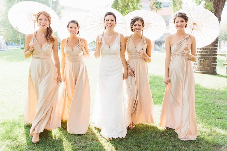 Champagne Convertible infinity bridesmaid dress custom height