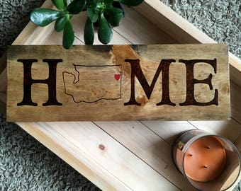 Personalized Home State Sign - Custom Rustic State Love Sign -  State Outline Home Sign - State Love Custom Sign