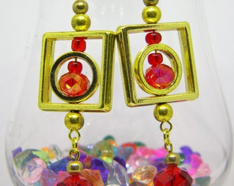 Gold and Red Square Dangle Earrings