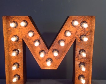 """12"""" Vintage Marquee Light Letter M (rustic) 12"""" Free Shipping"""