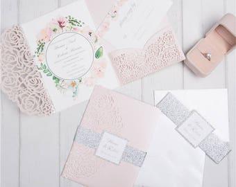 Blush Rose and Silver Glitter Wedding Invitation Suite | Laser Cut Pocket Fold | Glitter Belly Bands | Invitation Suite | Rose Laser Cut