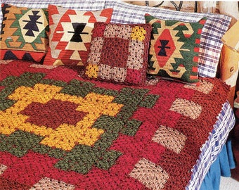 Southwestern Afghan and Pillow Crochet Pattern Western Afghan Blanket and Pillow Crochet Pattern PDF Instant Download