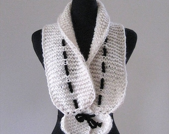Off White or Black Color Option Knitted Scarf Collar Necklet Scarflette with Black Cord