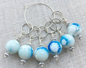 Stitch Markers for Knitting - Blue & White Knitting Markers - Beaded Markers - Set of 6 Stitch Markers - Snag Free Stitch Markers