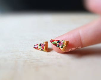 Supreme pizza slice stud earrings. Handmade polymer clay. Cute gift for food lovers.