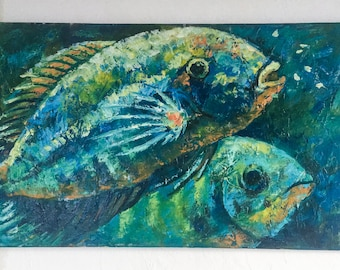 """Original Oil Painting Into The Depths of Sea Ocean, Fish Painting, Fish on canvas, Oil Painting, Sea Ocean Oil, 15.8""""x31.5"""" +Canvas"""