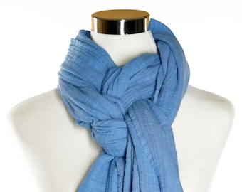 Hand dyed Cotton Scarf - 24 X 84 -  Cotton Scarf - Cotton Double Gauze Scarf - Wide Scarf - Long Scarf - Sky Blue Scarf - Chunky Scarf