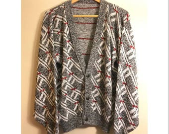 Vintage 80s Abstract Cardigan Sweater Oversized Cosby Cardigan Sweater