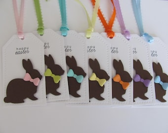 Chocolate Easter Bunny Gift Tags, Happy Easter Favor Tags, Easter Tags, Easter Bunny Tags, Easter Basket Gift Tags, Happy Easter Gift Tags