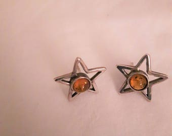 Vintage Sterling Silver Brown (Amber) Stone Earrings - Stud Back Earrings - 1970s - Wedding/Anniversary/Birthday/Mother's Day