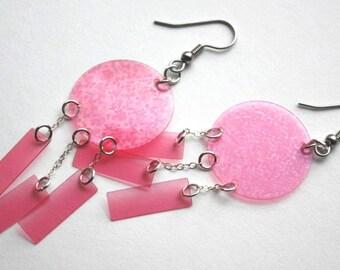 Pink Sequin Earrings Transparent Hologram Round Rectangle Dangles Plastic Sequins