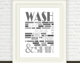 Laundry Room Wall Art // Instant JPEG Download // Wash and Rinse Laundry Room Printable // Shades of Grey Laundry Art