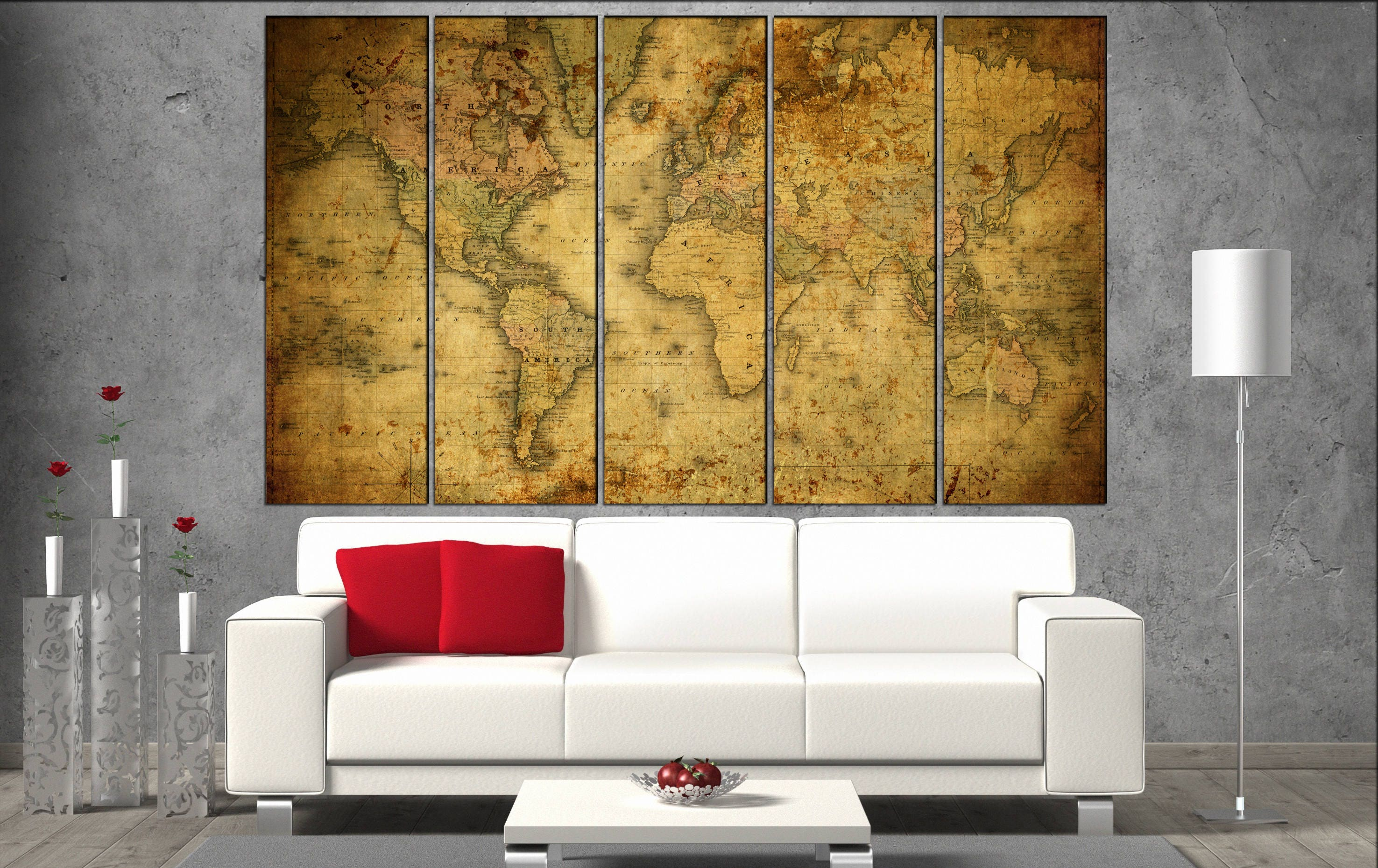 old world map canvas wall art print on canvas wall art Old World Map ...