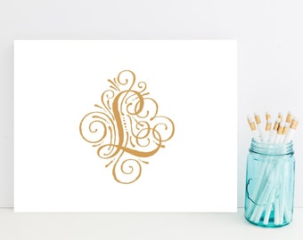 Fancy Customized Initial Stationery - Fancy Personalized Stationary - Letter L Stationery - Flourish - Choose Your Initial