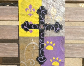 Handpainted Cross, Fleur de lis and paw prints on Recycled Roofing Slate