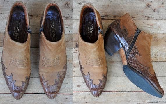 Southwestern Leather Picker Boots Winkle Chelsea 5 7 Alligator ANKLE Western SALE Suede 37 Country Leather Italian 2 Tone Crocodile Vintage zx4OZqp