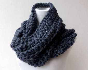 Grey Infinity scarf Gray Cowl Chunky Scarf Circle Womens Winter Accessory