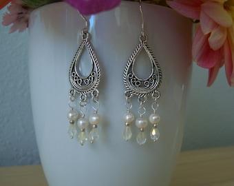 Teardrop Natural Fresh Water Pearl and Swarovski Crystal Chandelier Earrings