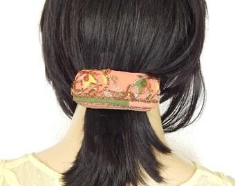 Coral hair barrette,embroidered barrette, beaded barrette, sequinned barrette,fabric barrette, hair accessory, fashion accessory