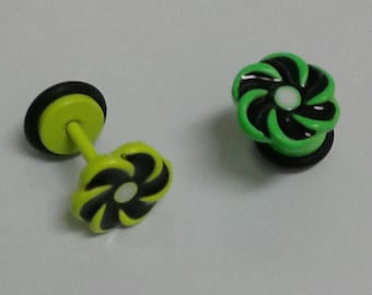 SAVE 50% CODE: '50FIRSTORDER' | Fake Starter Plugs ~ Neon Green -&/or- Neon Yellow Earrings ~ Available in Singles(1 Pc) and Pairs(2 Pcs)