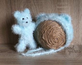 Fluffy Newborn Teddy Bear Bonnet