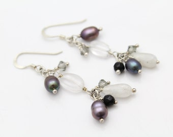 Boho-Chic Dangle Earrings with Multigemstone Beads in Sterling Silver. [10356]