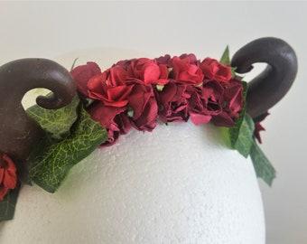 Red Rose Ivy Antler Headband