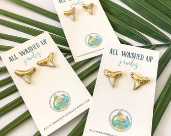 Gold Dipped Shark Tooth Stud Earrings