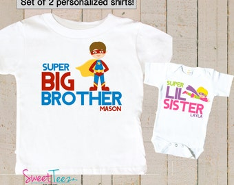 Super Hero shirt set Big Brother Personalized Shirt SET Little Sister Super Hero Sibling Personalized Big Sister Shirts bodysuit SET
