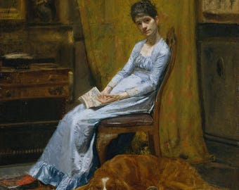 """Thomas Eakins : """"The Artist's Wife and His Setter Dog"""" (c. 1884-1889) - Giclee Fine Art Print"""