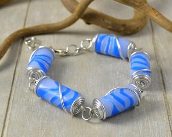 Imitation agate blue polymer clay bracelet