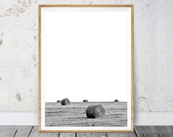 Crop Field, Country Art Print Digital Download, Farm Decor, Printable Poster, Farming Modern Print, Harvest Print, Haystack, Landscape Print