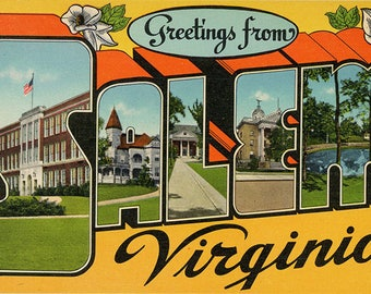 Salem Virginia Large Letter Vintage Postcard (unused)
