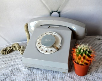 Rotary Phone, dial telephone, Office Supply, gray Home Decor, made in GDR in 70s, Retro Cabinet Decor, Denmark Phone