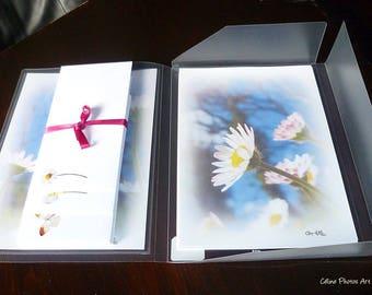 Papier à lettres réalisé à partir des  photos de pâquerettes de Céline Photos Art Nature