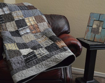 Quilt King UpCycle RePurpose ReUse  Men's Plaid Dress Shirt Black Gray Brown Quilt Made to Order